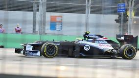 Bruno Senna som är tävlings- i Singapore F1 2012 Arkivbild