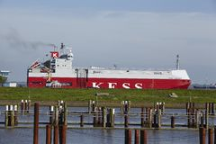Brunsbuettel - Freighter at departure of lockage Stock Photo