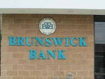 Brunswick Bank and Trust BTB sign on the wall. Stock Image
