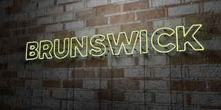 BRUNSWICK - Glowing Neon Sign on stonework wall - 3D rendered royalty free stock illustration Royalty Free Stock Image