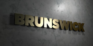 Brunswick - Gold text on black background - 3D rendered royalty free stock picture Stock Photos