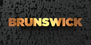 Brunswick - Gold text on black background - 3D rendered royalty free stock picture Royalty Free Stock Photography