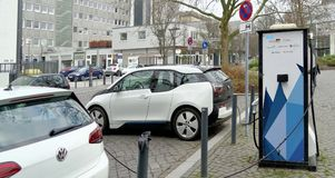 Brunswick, Lower Saxony, Germany, January 27,2018: Charging station for electric cars in Brunswick, Germany, editorial stock photography
