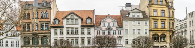 Brunswick, Lower Saxony, Germany, January 27,2018: Panorama of buildings on the Kohlmarkt, high resolution, as banner or header fo. R a website or blog Royalty Free Stock Photos