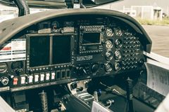 Brunswick, Lower Saxony, Germany, May 24, 2018: Cockpit of a disabled small aircraft before take-off royalty free stock image