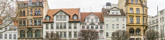 Brunswick, Nedersaksen, Duitsland, 27,2018 Januari: Panorama van gebouwen op Kohlmarkt, hoge resolutie, als banner of kopbal FO Royalty-vrije Stock Foto's