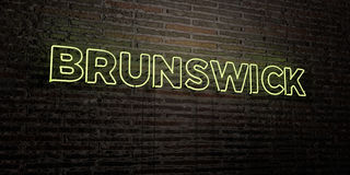 BRUNSWICK -Realistic Neon Sign on Brick Wall background - 3D rendered royalty free stock image Stock Photography