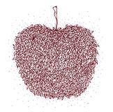 Brunt äpple i zentanglestil bakgrund isolerad white Bladmodell för den vuxna linjen konst för spänning för färgläggningbok anti- Arkivfoton