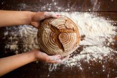 Brunt bröd i händer Arkivfoton