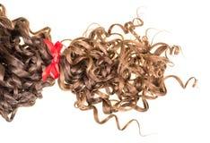 Brunt bundet rött band för krabbt hår som isoleras på vit arkivfoton