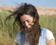 brunt caucasian kvinnligbarn arkivfoto