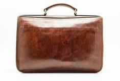 brunt elegantt läder för portfölj Isolerat på en vit bakgrund med en clippingbana arkivfoto