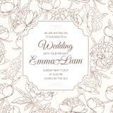 Brunt för blomma för paeonia för pion för bröllopinbjudankort royaltyfri illustrationer