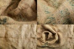 Brunt för säcktexturbakgrund som vävas Royaltyfri Bild