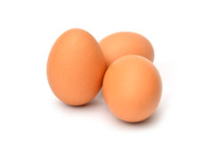 Brunt fegt ägg som isoleras på vit Arkivbild
