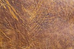 Brunt gammalt läder texturerad bakgrund, modedesign, tapet Royaltyfria Bilder