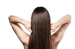 brunt hår long Arkivfoto