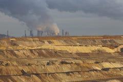 Brunt kol - dagbrotts- bryta Garzweiler (Tyskland) Arkivfoto