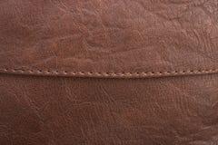 Brunt läder med detaljen och textur Royaltyfri Bild