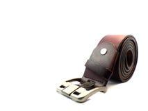 Brunt läderbälte på isolerat Fotografering för Bildbyråer