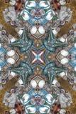 brunt med den runda prydnaden för blått och för gräsplan stock illustrationer
