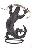 Brunt ormläderarmband på en tappningödla Royaltyfri Foto