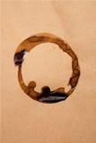 Brunt papper med kaffefläck Fotografering för Bildbyråer