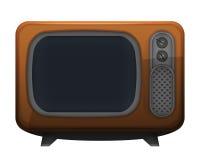 Brunt retro televisionobjekt på vit Royaltyfri Foto