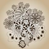 Brunt skissar Art Object på beiga royaltyfri illustrationer