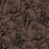 Brunt skissar den sömlösa blomman Royaltyfri Bild