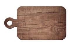 Brunt skrapade träklipp som choping brädet på vit bakgrund Royaltyfri Foto