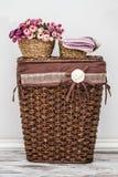 Brunt stack Straw Basket Arkivfoto
