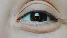 Brunt synar kvinnor som ser kameran arkivfilmer