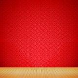 Brunt wood golv med wi för rum för röd bakgrund för kinesisk stil tomma stock illustrationer