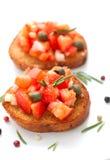 Bruscetta med tomater och rosmarin Arkivbilder