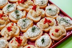 Bruschetta用乳脂干酪、獐鹿传播和各式各样的蕃茄 库存照片