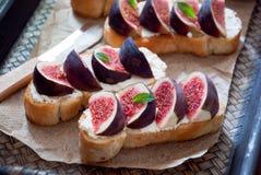 Bruschetta用无花果和山羊乳干酪 库存照片