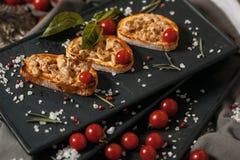Bruschetta用熏制的肉和西红柿 免版税库存照片