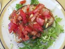 Bruschetta用蕃茄意大利 库存图片