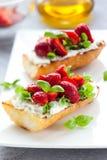 bruschetta草莓 免版税图库摄影