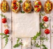 Bruschetta食谱 免版税图库摄影