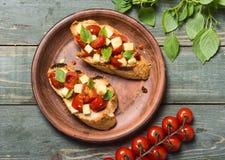 Bruschetta με την ντομάτα Στοκ Φωτογραφίες
