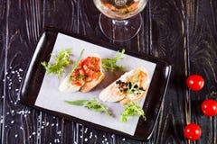 Bruschetta в ресторане стоковое изображение