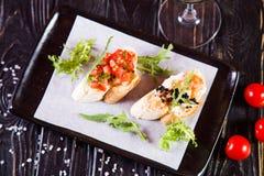 Bruschetta в ресторане стоковое фото rf