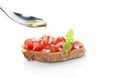 Bruschetta с оливковым маслом. Стоковое Изображение