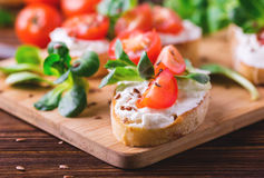 Bruschetta с рикоттой, шпинатом, салатом мозоли и томатами вишни Стоковое Изображение RF