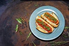 Bruschetta с томатами и сыром Итальянская закуска кухни стоковое фото