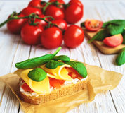 Bruschetta с томатами шпината и вишни на провозглашанном тост багете Стоковые Фото
