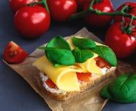 Bruschetta с томатами шпината и вишни на провозглашанном тост багете Стоковое Изображение