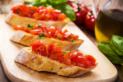 Bruschetta с томатами Стоковая Фотография